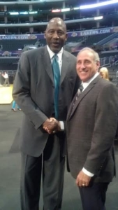 todd kaplan with james worthy ex la laker star and tv analyst and commentator. voted one of the top 50 greatest players in nba history